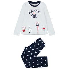 Pyjama en velours motif coeurs