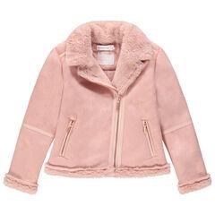 Perfecto effet daim rose pâle doublé sherpa