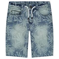 Junior - Bermuda en jeans avec palmiers all-over