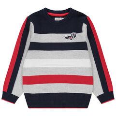 Pull en tricot à jeux de mailles et rayures jacquard