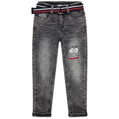 Jean souple effet used avec ceinture ajustable rayée