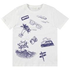 Junior - T-shirt manches courtes avec prints esprit vacances