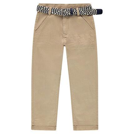 Junior - Pantalon 7/8ème en twill avec ceinture tressée amovible