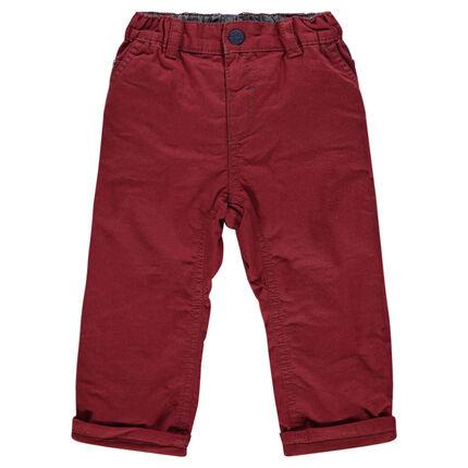 Pantalon en twill uni avec taille élastiquée