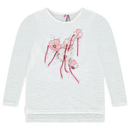 Tee-shirt manches longues avec fleurs brodées
