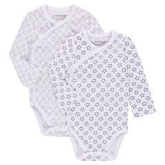 Lot de 2 bodies manches longues en jersey imprimés all-over
