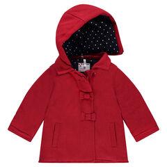 Manteau en drap de laine fantaisie avec doublure à pois all-over