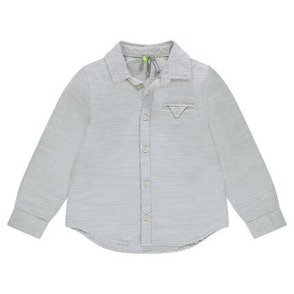 Chemise manches longues en coton fantaisie avec poche
