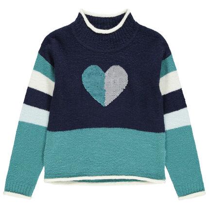 Pull en tricot col roulé avec coeur en sequins magiques