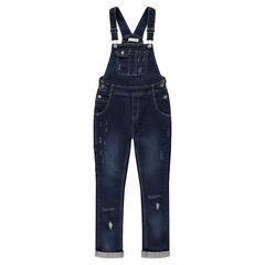Junior - Salopette en jeans avec usures poches