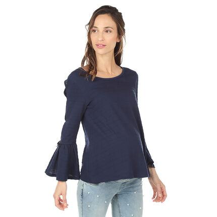 Tee-shirt de grossesse en maille fantaisie avec manches ajourées