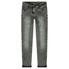 Junior - Jeans skinny effet neige avec patch coeur en sequins