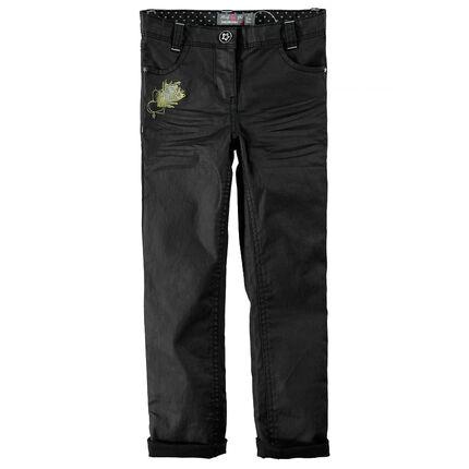 Jeans en coton enduit avec broderie