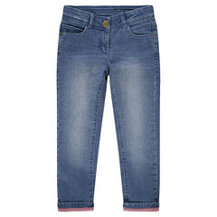 Jeans effet used et crinkle avec doublure rose en jersey