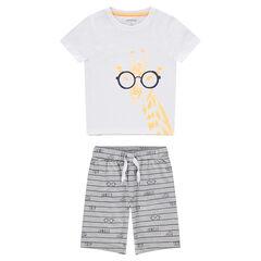 Pyjama en jersey avec tee-shirt print girafe à lunettes