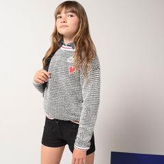 Junior - Pull en tricot fantaisie avec badges