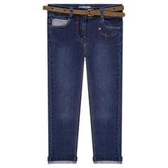 Jeans slim 7/8ème à ceinture amovible