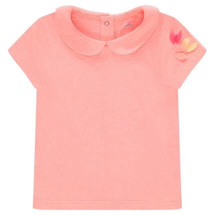 Tee-shirt manches courtes en jersey uni avec col Claudine
