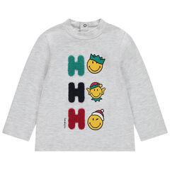 Sous-pull esprit Noël avec prints Smiley et lettres en bouclette