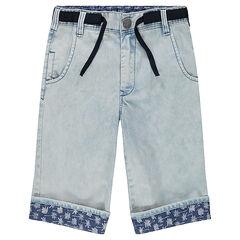 Junior - Bermuda en jeans effet neige avec revers imprimés palmiers