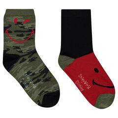 Lot de 2 paires de chaussettes assorties motif army ©Smiley