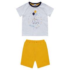 Ensemble avec tee-shirt rayé print éléphant et bermuda en jersey