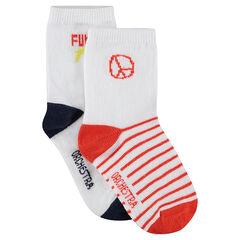 Lot de 2 paires de chaussettes assorties à motif jacquard