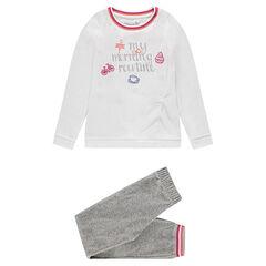Junior - Pyjama en velours avec inscription printée et broderies