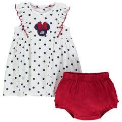 Ensemble ave robe à pois patch Minnie Disney et bloomer volanté