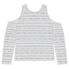 Junior - Tee-shirt manches longues à épaules dénudées et rayures