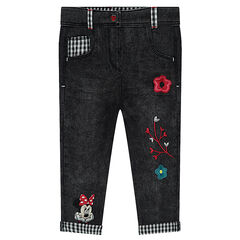 Jeans coupe slim effet used avec broderies Dinsey Minnie
