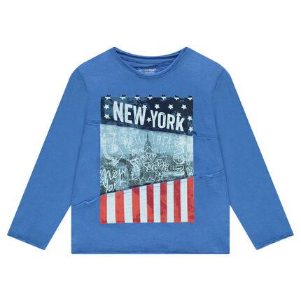 Tee-shirt manches longues en jersey avec print New York