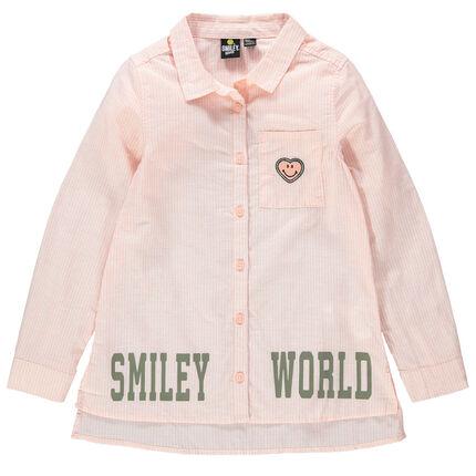 Chemise manches longues à fines rayures avec badges et inscriptions Smiley