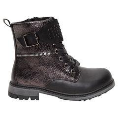 Boots noirs effet croco avec strass fantaisie