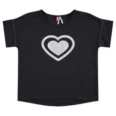 Tee-shirt manches courtes avec coeur printé sur le devant