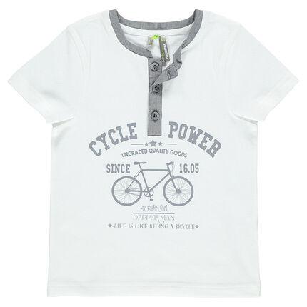 Tee-shirt manches courtes avec inscriptions et vélo printé