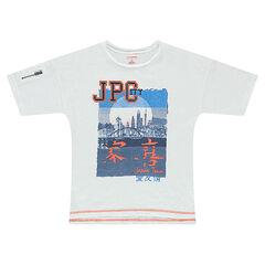 Tee-shirt manches courtes avec print Japon et zip sur la manche