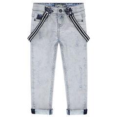 Jeans effet used avec bretelles élastiquées amovibles c2289384746a