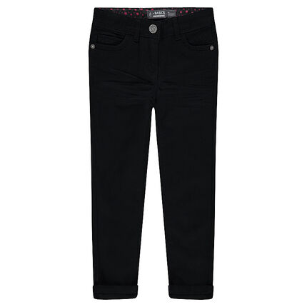 Junior - Pantalon en twill uni coupe slim