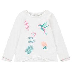 Pull en tricot avec motifs brodés et printés