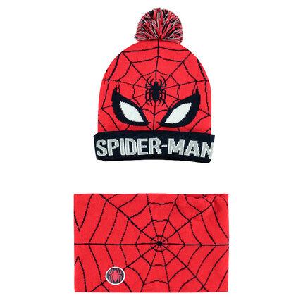 Ensemble bonnet et snood en tricot avec motif ©Marvel Spiderman en jacquard