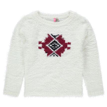 """Pull en tricot effet """"poils"""" avec motif ikat"""