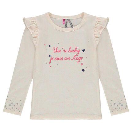 Tee-shirt manches longues avec message et étoiles printés