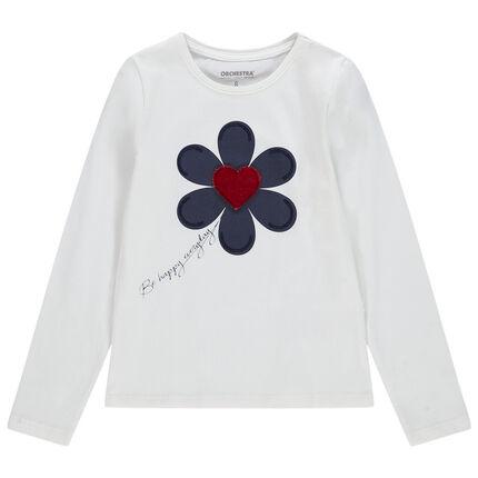 T-shirt manches longues à fleur et coeur en velours