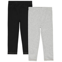 Lot de 2 leggings unis en coton bio