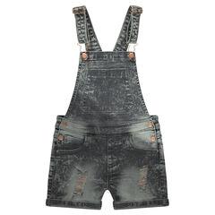 Junior - Salopette courte en jeans effet neige avec usures cuivrées