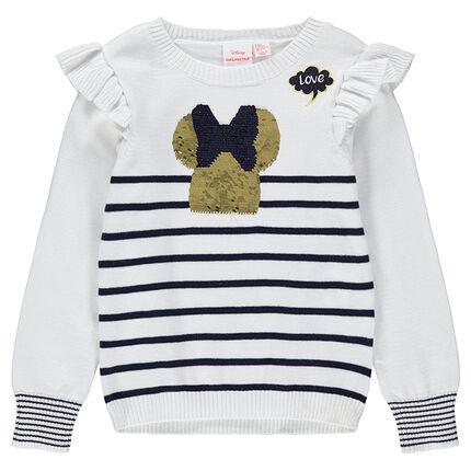 Pull en tricot style marinière avec Minnie en sequins magiques Disney