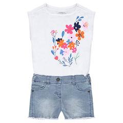 Combishort effet 2 en 1 avec haut print fleurs et bas en jeans used