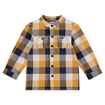 Chemise manches longues à carreaux avec patchs sur les coudes