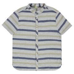 Junior - Chemise manches courtes en coton fantaisie rayé col mao